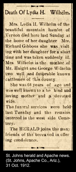 Obituary article for Lydia Wilhelm